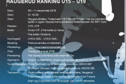 Velkommen til Haugerud ranking U15/U19  9-11. september 2016
