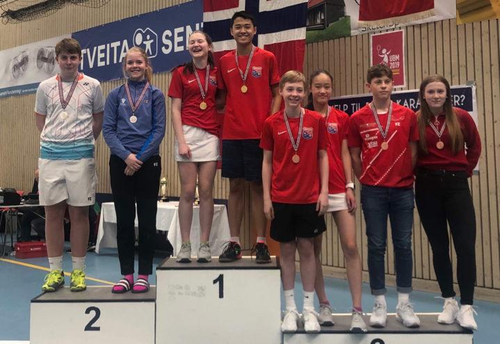 Ungdommens Badmintonmesterskap 5-7 april 2019: Haugerud på pallen i 7 av 10 klasser!